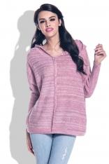 Różowa Swetrowa Bluza z Kapturem