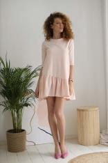 Bawełniana Sukienka z Ukośną Falbanką - Różowa