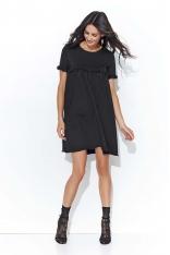 Czarna Oversizowa Sukienka z Drobnymi Falbankami