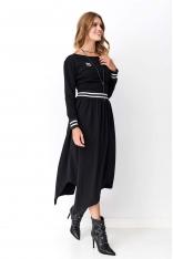 Asymetryczna Sukienka Dresowa ze Ściągaczami