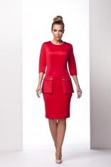 Czerwona Wizytowa Sukienka z Kieszeniami na Suwak