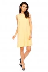 Żółta Wyjściowa Sukienka Trapezowa bez Rękawów