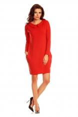 Czerwona Prosta Wyjściowa Sukienka z Kołnierzykiem z Długim Rękawem