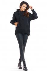 Czarna Oversizowa Bluza z Kapturem