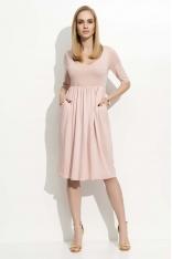 Różowa Sukienka Midi z Rękawem do Łokcia