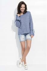 Jeansowy Luźny Sweter z Wiązaniem na Rękawach