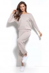 Dzianinowy Beżowy Komplet Oversizowa Bluza + Spodnie