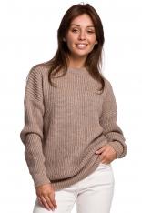 Sweter Oversize o Przedłużonym Kroju - Cappuccino