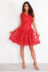 Czerwona Koronkowa Sukienka Wieczorowa z Cekinami