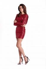 Dopasowana Czerwona Sukienka Wieczorowa z Cekinami