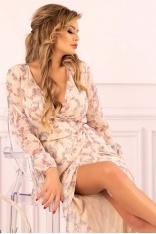 Długa Kopertowa Sukienka z Florystycznym Printem