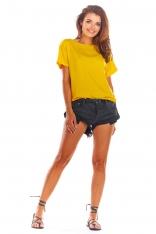 Żółta Oversizowa Bluzka Wiązana na Plecach
