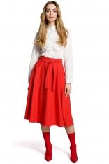 Czerwona Rozkloszowana Wizytowa Spódnica Midi z Paskiem