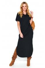 Czarna Nowoczesna Dresowa Maxi Sukienka z Krótkim Rękawem