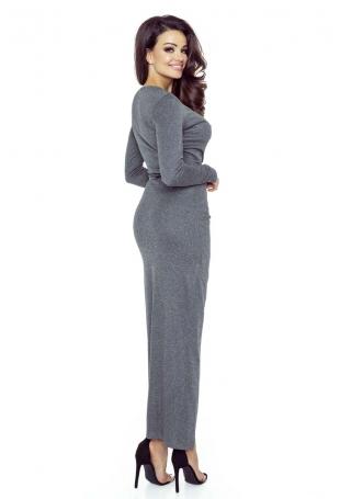 Ciemno Szara Matowa Sukienka Długa Kopertowa z Dekoracyjnym Marszczeniem