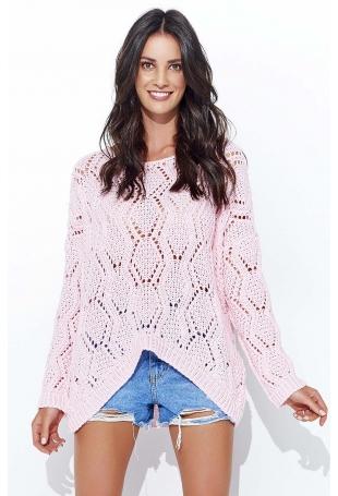 Różowy Ażurowy Luźny Sweter z Szerokim Dekoltem