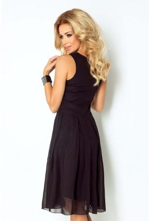 Czarna Sukienka Wieczorowa z Szyfonu z Dekoltem V