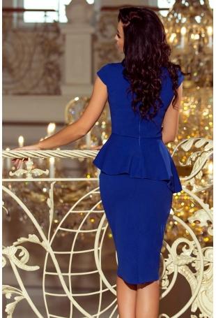 Elegancka Ołówkowa Sukienka Midi z Asymetryczną Baskinką - Chabrowa