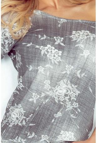 Cieniowana Szara Sukienka w Drobne Kwiaty Ściągana w Pasie