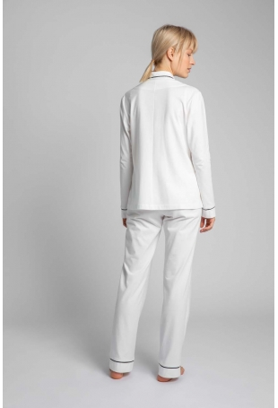 Bawełniana Koszula od Piżamy z Wypustkami - Ecru