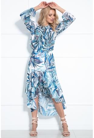 Komplet w  Liście Bluzka + Asymetryczna Spódnica