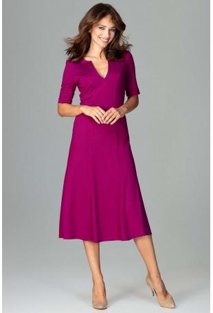 Fuksja Koktajlowa Sukienka Midi z Wycięciem V przy Dekolcie