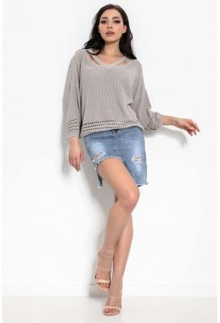 Swetrowa Bluzka z Wyjątkowym Dekoltem V - Beżowa