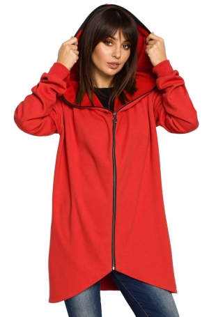 Czerwona Bluza Asymetryczna z Kapturem