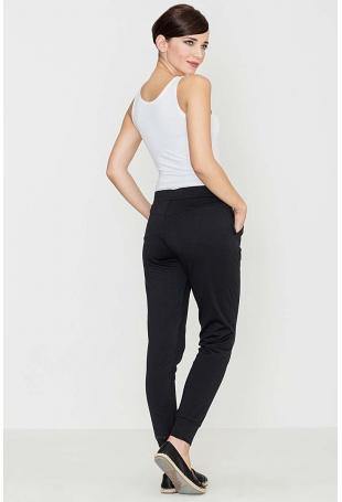 Czarne Komfortowe Spodnie ze Złotym Suwakiem
