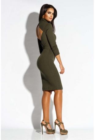 Oliwkowa Sukienka z Wycięciem na Plecach
