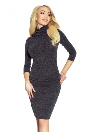 Czarna Sukienka Swetrowa z Golfem