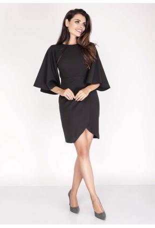 Czarna Sukienka Kopertowa z Hiszpańskim Rękawem