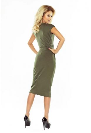 Khaki Sukienka Elegancka Midi z Zaznaczoną Talią
