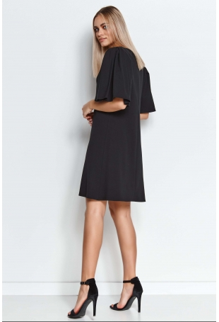 Krótka Trapezowa Sukienka z Motylkowym Rękawem - Czarna