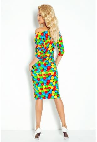 Sukienka w Kolorowe Kulki Sportowa Ściągana w Pasie