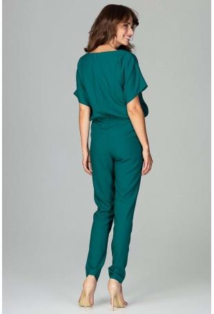 Zielony Kombinezon z Krótkim Kimonowym Rękawem