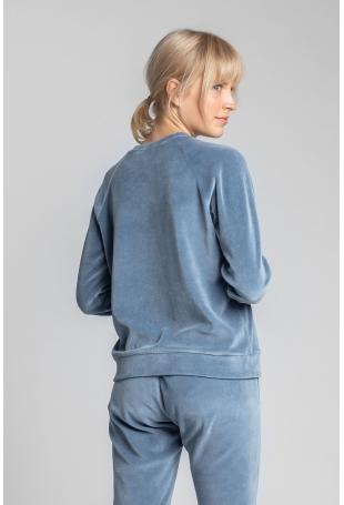 Pluszowa Bluza Haftem - Niebieska