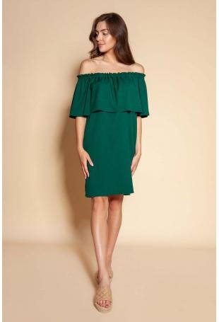 Krótka Sukienka z Hiszpańskim Dekoltem - Zielona