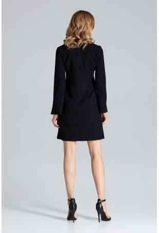 Czarna Sukienka Koktajlowa Mini z Rozciętym Rękawem