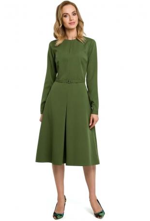 Zielona Elegancka Sukienka do Pracy za Kolano z Paskiem