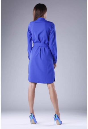 Kobaltowa Sukienka Koszulowa z Kieszeniami i z Paskiem