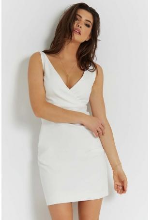 Śmietankowa Stylowa Sukienka Ołówkowa na Szerokich Ramiączkach