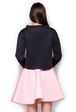 Różowa Rozkloszowana Mini Spódnica Wykończona na Ostro