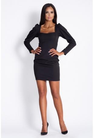 Czarna Koktajlowa Mini Sukienka z Ozdobnym Rękawem