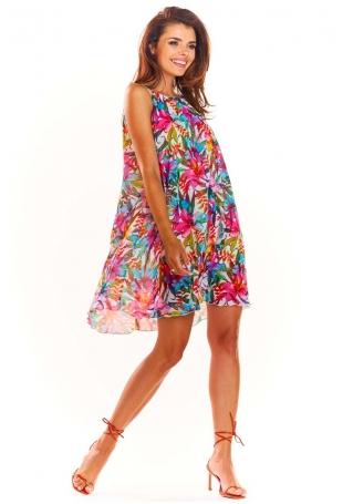 Różowa Letnia Oversizowa Sukienka w Kwiaty