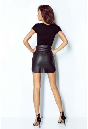 Czarna Kobieca Spódnica Mini z Eko-skóry