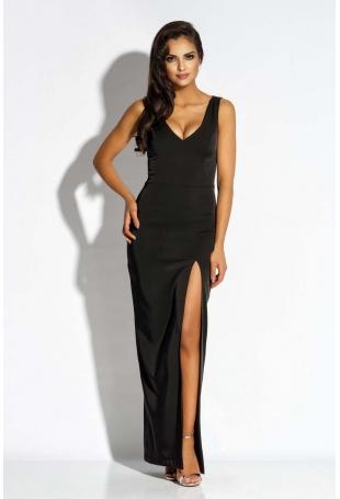 Czarna Sukienka Wieczorowa Maxi z Długim Rozcięciem