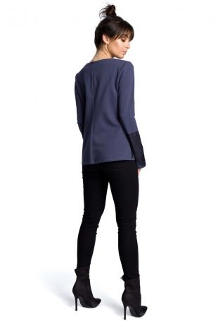 Niebieska Klasyczna Bluzka z Koronką