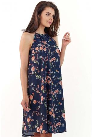 Granatowa Zwiewna Sukienka Midi w Kwiatowy Wzór z Wiązanym Dekoltem