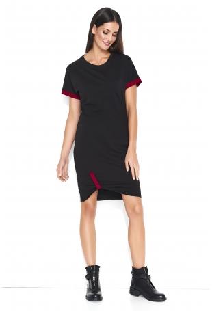 Dresowa Czarna Sukienka w Sportowym Stylu